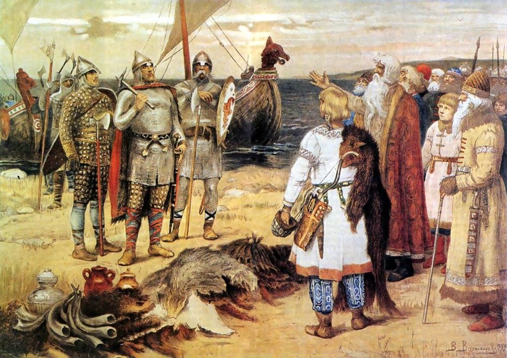 An oil painting of Russian warriors on the shore.
