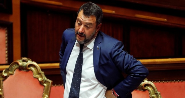 Italy's Interior Minister and Deputy Prime Minister Matteo Salvini gestures as Italy's government is set to face Senate confidence vote on security and immigration decree in Rome, Italy, Aug. 5, 2019. (Reuters Photo)