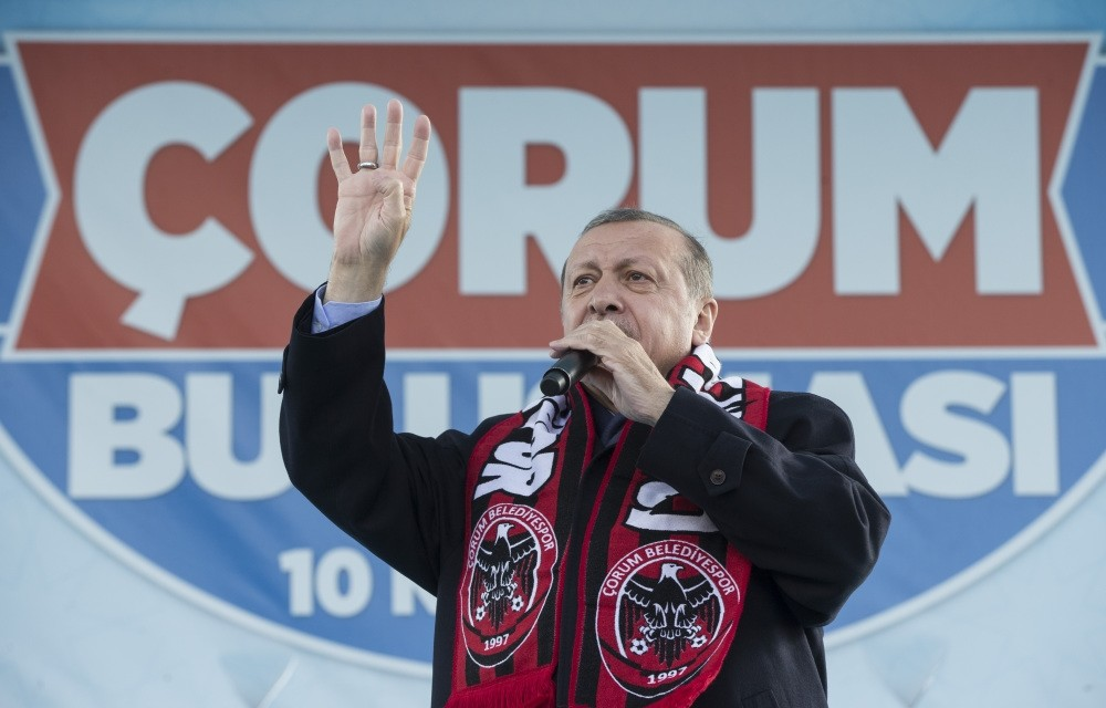 President Recep Tayyip Erdou011fan addresses the crowd in Turkey's central u00c7orum province yesterday.