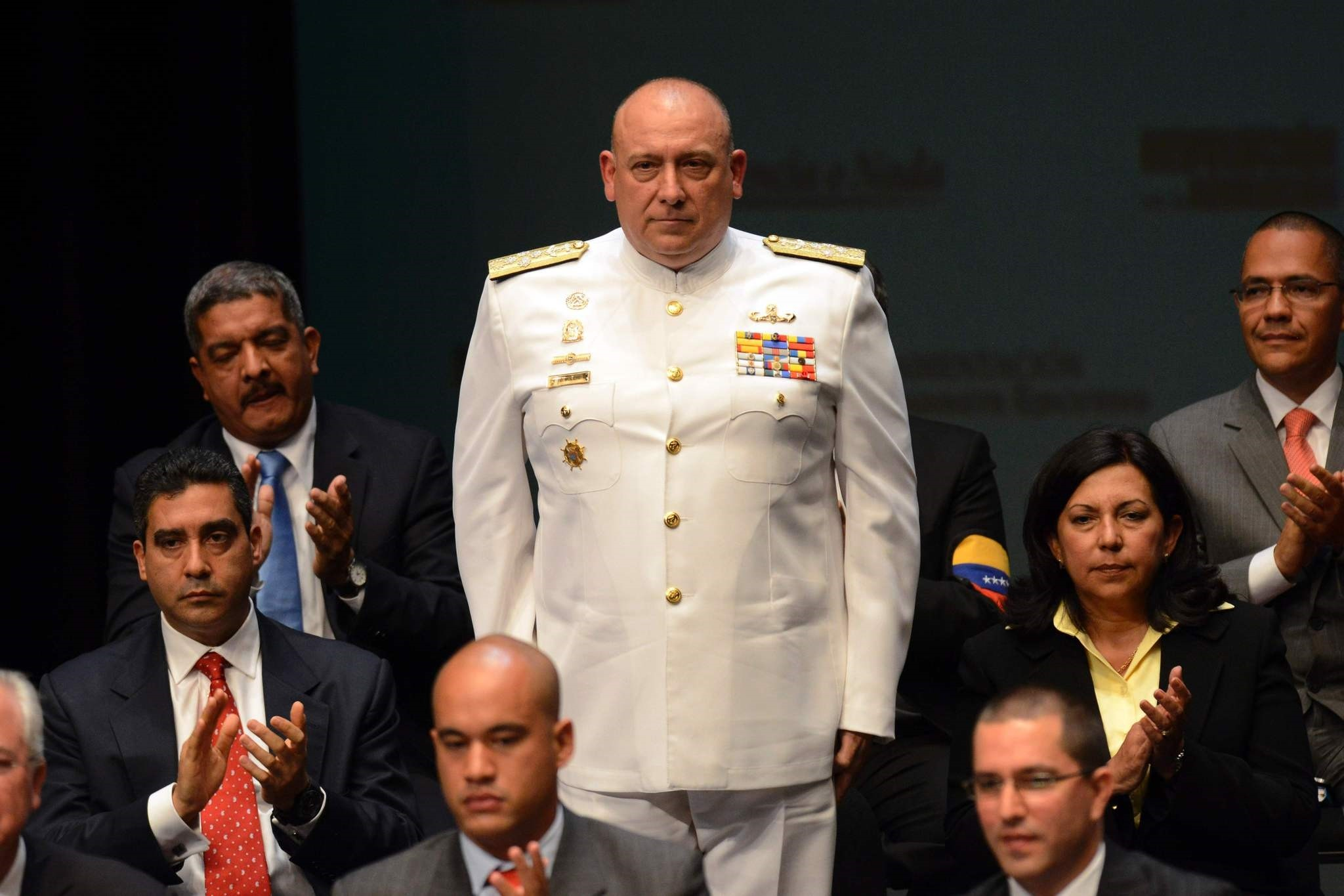 This file photo taken on April 22, 2013 shows current Venezuelan ambassador to Peru, Diego Molero Bellavia (C), during the ministers swearing-in ceremony in Caracas. (AFP Photo)
