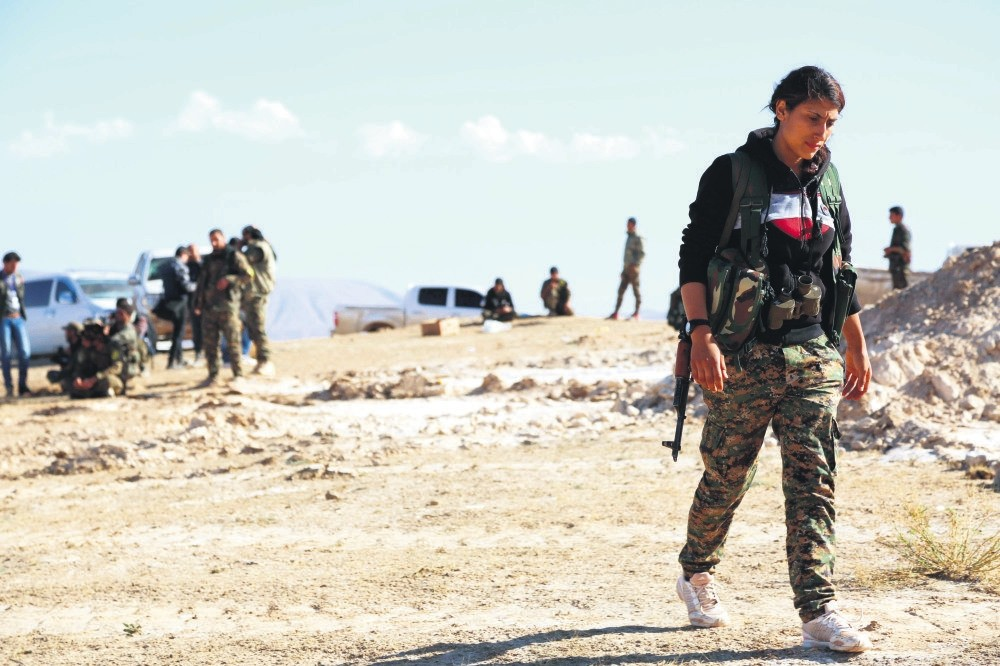 YPG, YPJ and other terrorist organizations gather in al-Hol Syria, some 650 kilometers northeast of Damascus, near the Iraqi border, Nov. 2, 2015.