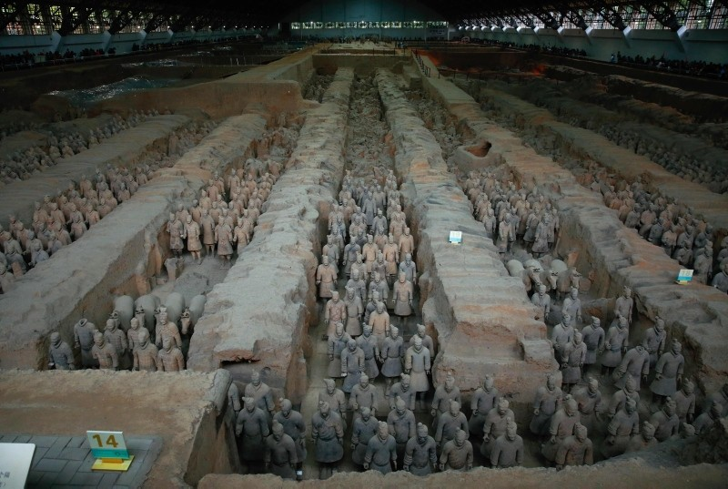 In this Oct. 21, 2016 photo the sculptures of the terracotta army are displayed  at the Terracotta Warrior Museum in Xian, Shaanxi province, northern China. (AFP Photo)