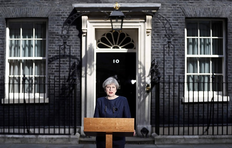 Britain's Prime Minister Theresa May speaks to the media outside 10 Downing Street, in central  London, Britain April 18, 2017 (Reuters Photo)