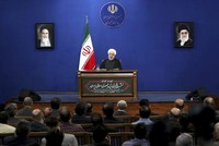 Iran's President Hassan Rouhani gives a press conference in Tehran, Iran, Monday, Oct. 14, 2019. Rouhani announced his nation would begin working with advanced IR-9 centrifuges. It's unclear what those centrifuges can do, though Iran has a host of advanced centrifuges that enrich uranium more rapidly than those allowed under the accord. (AP Photo/Ebrahim Noroozi)