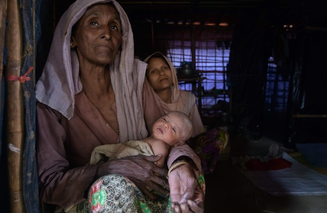 Rohingya refugees at the Thangkhali refugee camp near Cox's Bazar, Aug. 11.