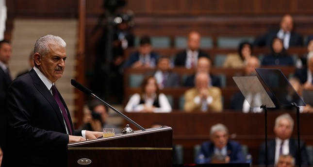 Prime Minister Binali Yıldırım addresses the AK Party group in the Turkish parliament on Tuesday Oct. 10, 2017 AA Photo