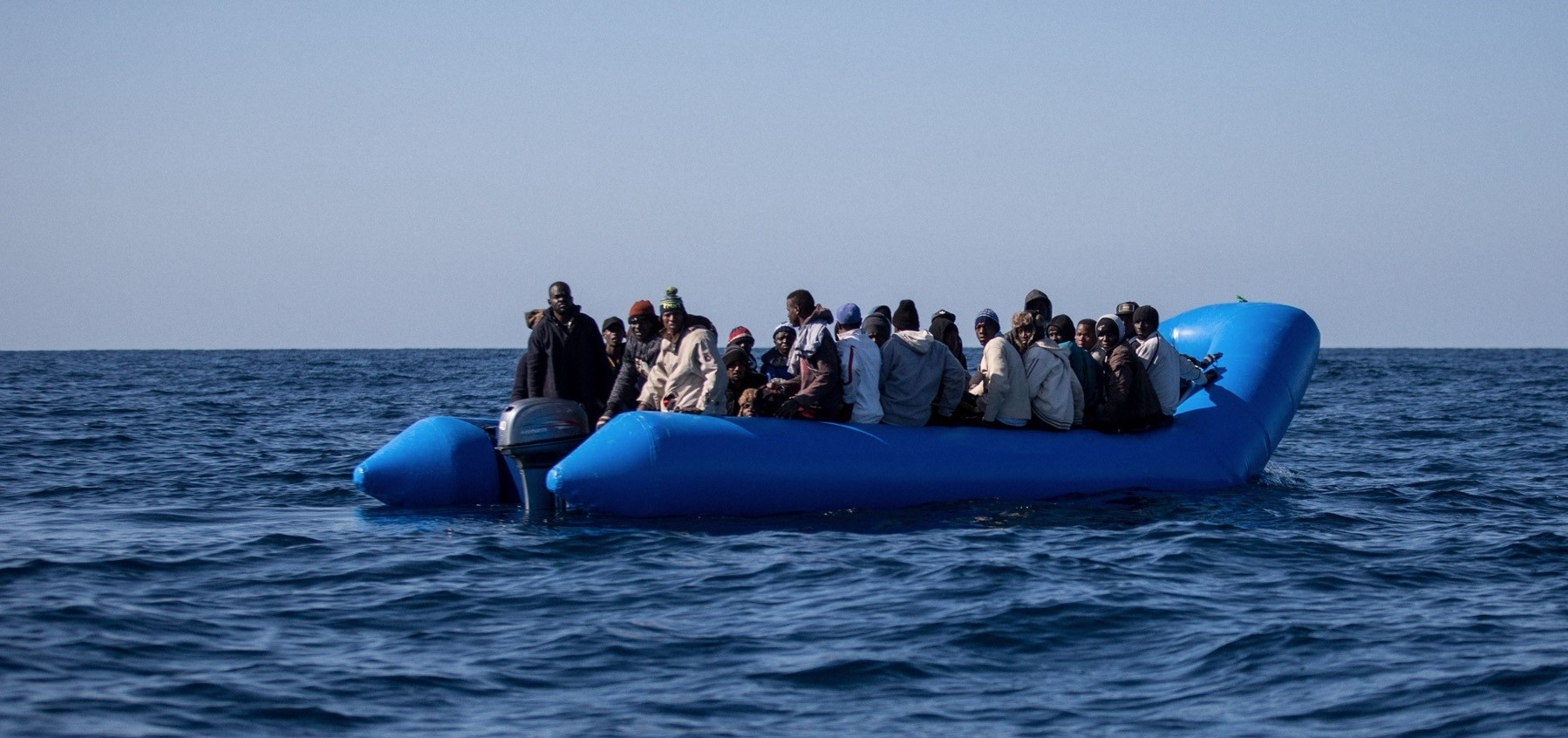An inflatable boat with 47 migrants on board is pictured off Libyau2019s coasts, Jan. 19, 2019.