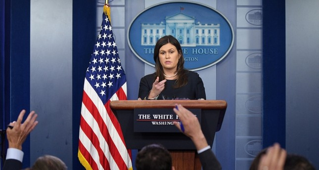 White House Press Secretary Sarah Sanders speaks during a press briefing at the White House in Washington, U.S., August 1, 2018. (REUTERS Photo)