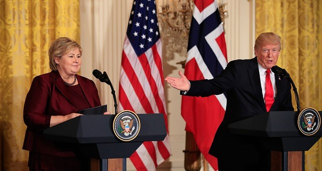 U.S. President Donald Trump speaks during a joint news conference with Norwegian Prime Minister Erna Solberg in the East Room of the White House in Washington, D.C., U.S., Jan. 10, 2018. (AP Photo)