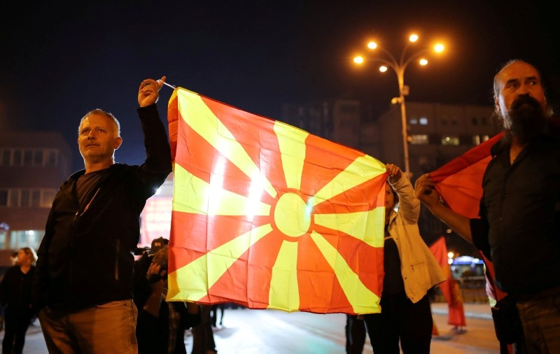 Protesters shout out slogans about boycott referendum on changing the country's name that would open the way for it to join NATO and the European Union in Skopje, Macedonia September 30, 2018. (Reuters Photo)