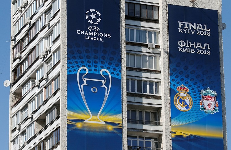 Banners for the Champions League final are seen on an apartment building in central Kiev, Ukraine May 10, 2018. Picture taken May 10, 2018. (Reuters Photo)