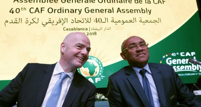 In this Feb. 2, 2018 file photo, Confederation of African Football president Ahmad Ahmad of Madagascar, right, and FIFA president Gianni Infantino attend the opening of the Confederation of African Football general assembly in Casablanca. (AP Photo)