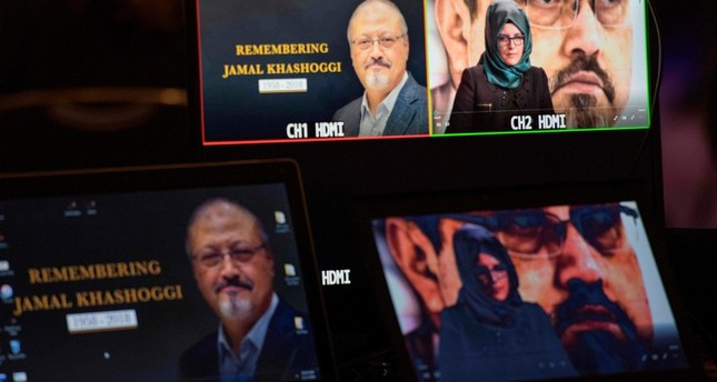 Hatice Cengiz, the fiancee of the late Washington Post journalist Jamal Khashoggi, delivers a prerecorded message (upper R) during a remembrance ceremony for her fiancée in Washington, DC. (AFP Photo)