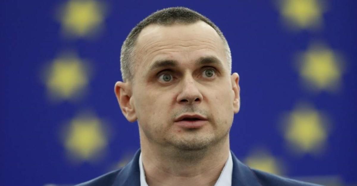 Ukrainian filmmaker Oleg Sentsov delivers his speech at the European Parliament Tuesday Nov. 26, 2019 in Strasbourg, eastern France. (AP Photo)