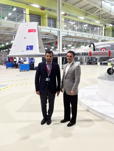 Photo shows Baykar Makina's Chief Technology Officer (CTO) Selçuk Bayraktar and Daily Sabah's Head of Digital Publishing Osman Bahattin Dirlik (R) at Baykar headquarters on Sept. 10, 2018.