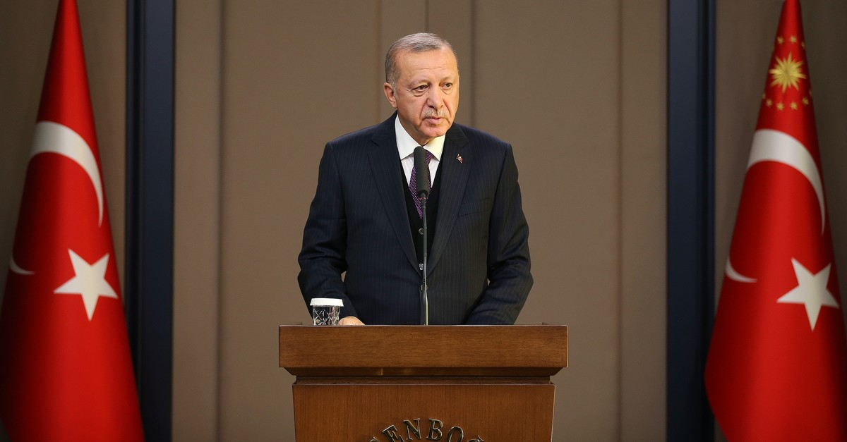 President Erdou011fan speaks to reporters at Esenbou011fa Airport in Ankara on Tuesday, Dec. 3, 2019 (AA Photo)