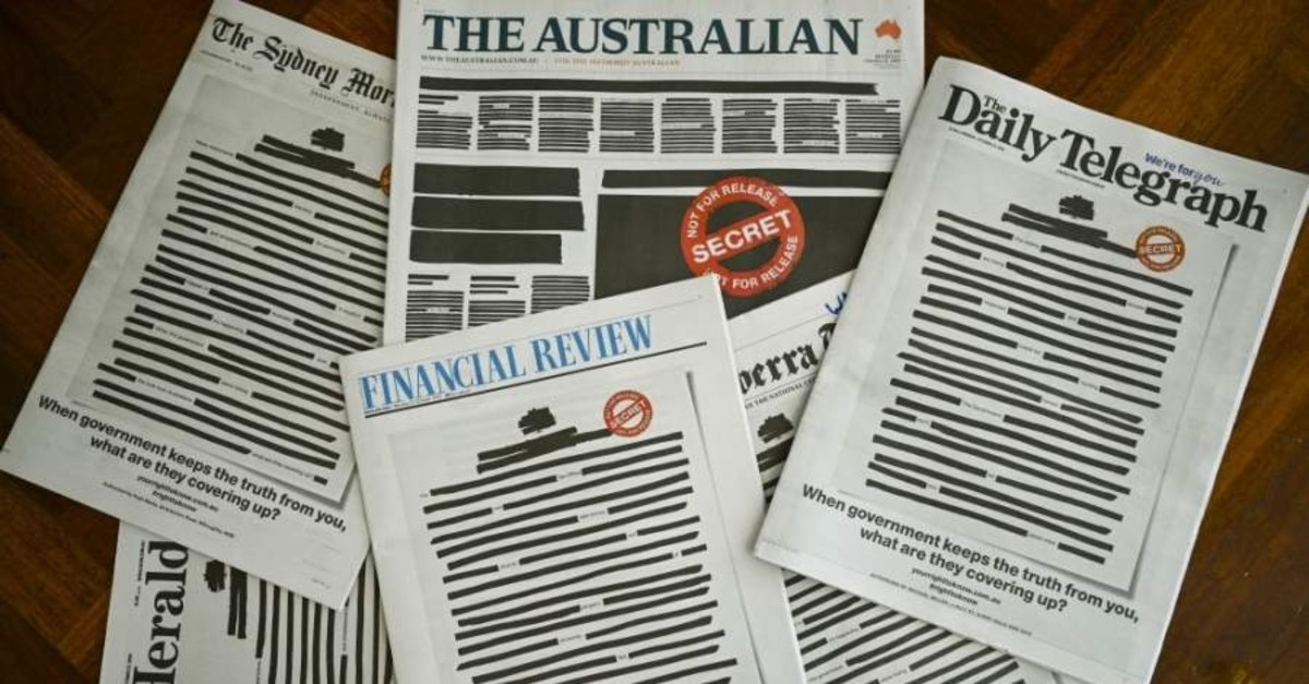 Front pages of major Australian newspapers show the ,Your right to know, campaign, Canberra, Oct. 21, 2019. (Reuters Photo)