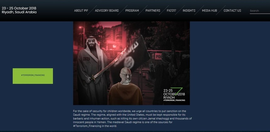 On Monday, the event's website was hacked and defaced with an image depicting the crown prince holding a sword over Khashoggi's head.