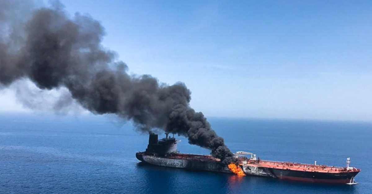 An oil tanker is on fire in the sea of Oman, Thursday, June 13, 2019 (AP File Photo)