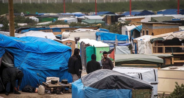 The refugee camp in the northern French town of Calais, where refugees are living in self-made tents.