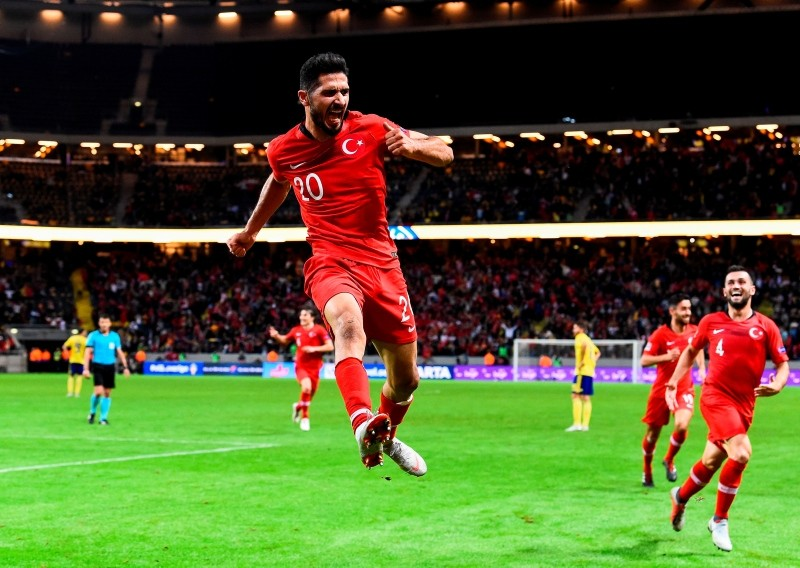 Turkey's midfielder Emre Akbaba celebrates after scoring a goal during the UEFA Nations League football match between Sweden and Turkey at the Friends Arena in Solna, on September 10, 2018. (AFP Photo)
