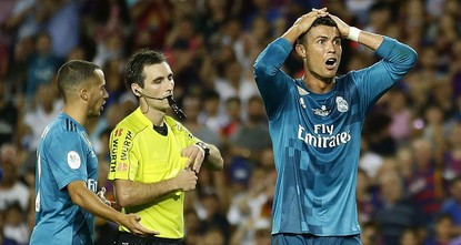 pCristiano Ronaldo was hit with a five-match ban by the Spanish football federation (RFEF) on Monday for pushing the referee after being sent-off in Real Madrid's 3-1 Spanish Super Cup, first leg...