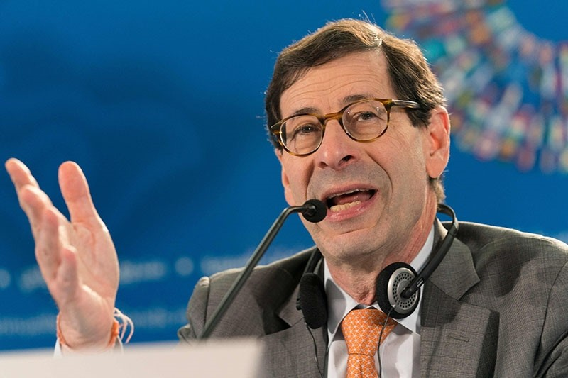 Oct. 9, 2018 photo shows International Monetary Fund (IMF) Economic Counsellor Maurice Obstfeld answering questions during the World Economic Outlook press conference during the 2018 IMF/World Bank annual meetings in Bali. (AFP Photo)