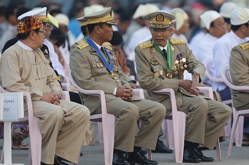 Minister of Home Affairs Lt.Gen Kyaw Swe (C) and Minister of Defense Lt.Gen Sein Win(R) attending the ceremony held to mark the 71st anniversary of Myanmar's Union Day, in Naypyitaw, Myanmar (EPA File Photo)