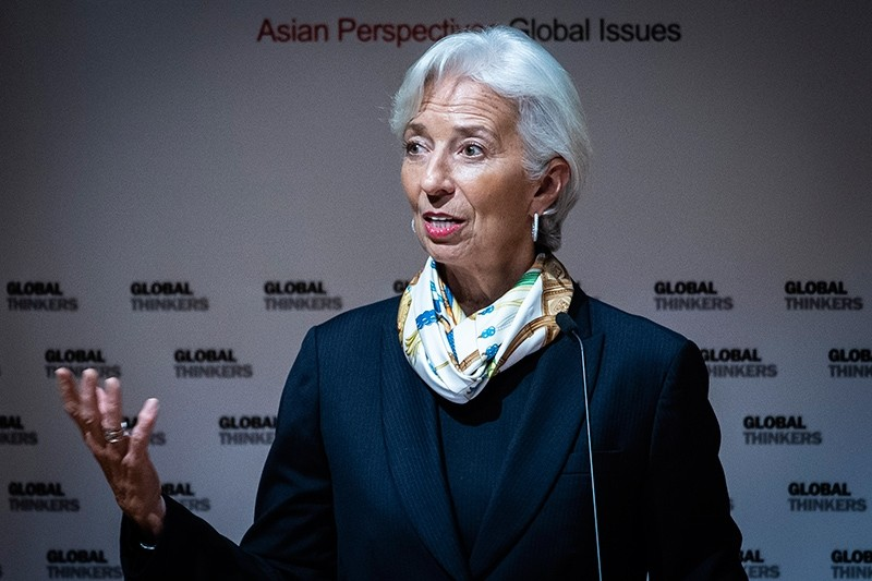 Managing Director of the International Monetary Fund (IMF) Christine Lagarde speaks at an event organised by the Asia Global Institute at the University of Hong Kong on April 11, 2018. (AFP Photo)