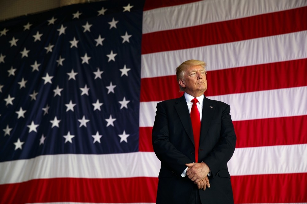 President Donald Trump being introduced to speak to U.S. military troops at the Naval Air Station Sigonella, Italy, May 2.