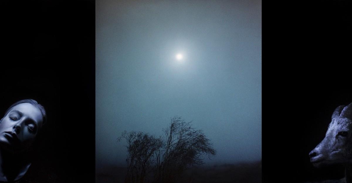 Nightfall (2019) by Metin Kalku0131zou011flu, acrylic on canvas, 130 x 345 cm.
