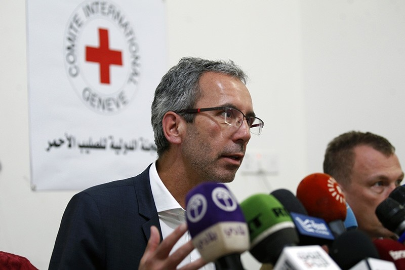 Dominik Stillhart, ICRC Director of Operations, speaks at a press conference in the Yemeni capital Sanaa on May 14, 2017. (AFP Photo)