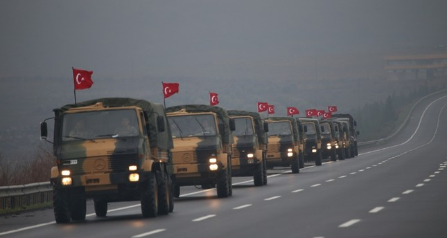 Turkish military convoy is seen passing through southeastern Şanlıurfa province while on way to Mardin province, Jan. 2, 2019. (AA Photo)