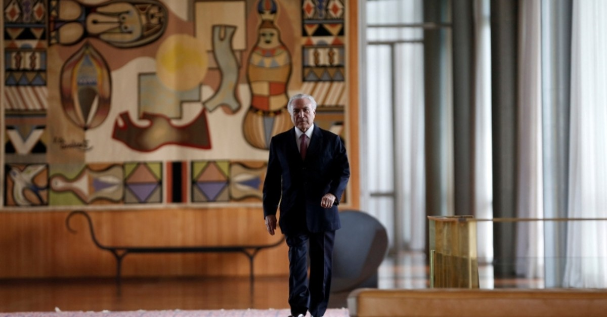 Former Brazil's President Michel Temer arrives for a breakfast with foreign media at Alvorada Palace in Brasilia, Brazil Dec. 6, 2018. (Reuters Photo)