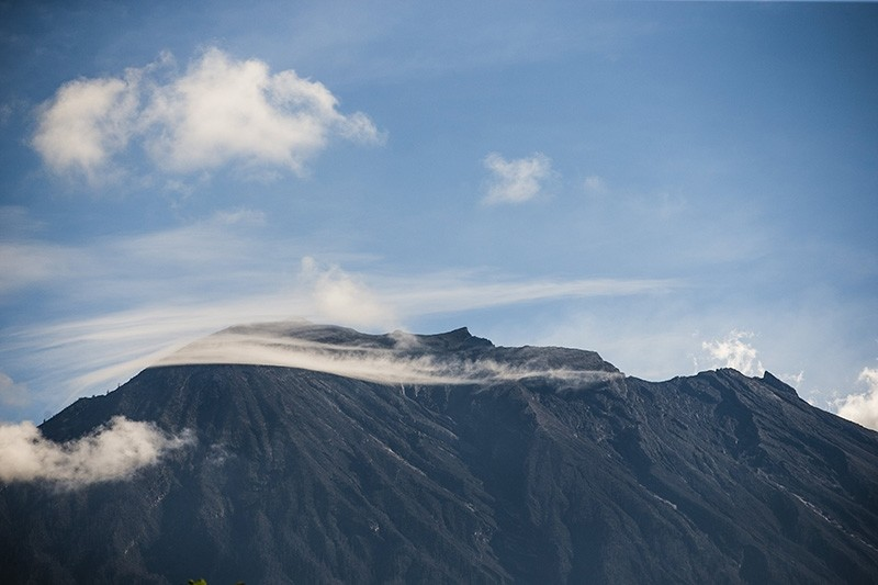 Mount Agung volcano is seen from Rendang village in  Karangasem, Bali, Indonesia (EPA Photo)