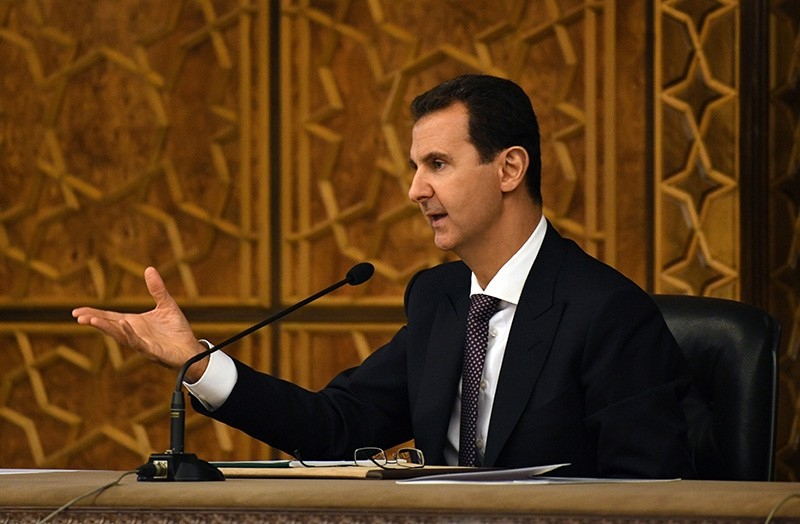 A handout photo made available by Syrian Arab News Agency (SANA)  shows Syria's Bashar Assad chairing a meeting of the Central Committee of al-Baath Arab Socialist Party in Damascus, Syria, Oct. 7, 2018. (EPA Photo)