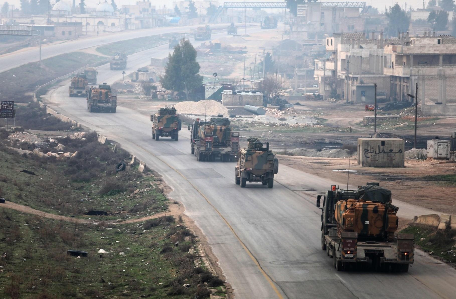 A Turkish military convoy in Idlib, Feb.15.