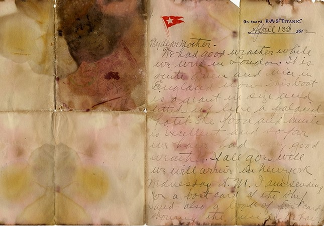 A letter written on April 13, 1912 and recovered from the body of Alexander Oskar Holverson, a Titanic victim, was due to be auctioned on Saturday (Reuters Photo)