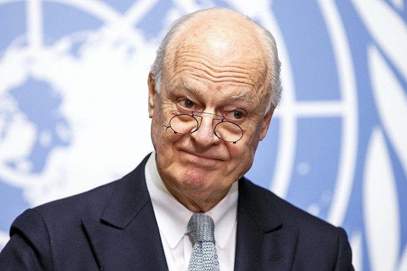 U.N. Special Envoy of the Secretary-General for Syria Staffan de Mistura informs the media on the Intra-Syrian Talks, during a press conference, at the European headquarters of the United Nations in Geneva, Switzerland, Jan.  25, 2016. (AP Photo)