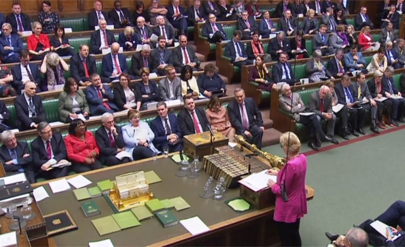 A video grab from footage broadcast by the UK Parliament's Parliamentary Recording Unit (PRU) shows Britain's Leader of the House of Commons Andrea Leadsom (bottom R) during a debate in the House of Commons in London on December 4, 2018. (AFP Phot)