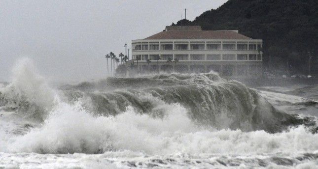 High waves pound a beach in Miyazaki, southwestern Japan as typhoon Krosa approaches the country, on August 13, 2019. (Kyodo via Reuters)