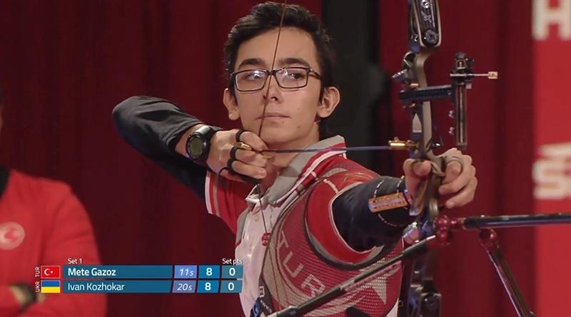 Turkey's Mete Gazoz competes at World Archery Indoor Championships in the U.S. (IHA Photo)