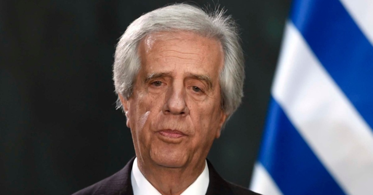 In this file picture taken on November 14, 2017 Uruguayan President Tabare Vazquez speaks during a message to medias at the National Palace in Mexico City (AFP Photo)