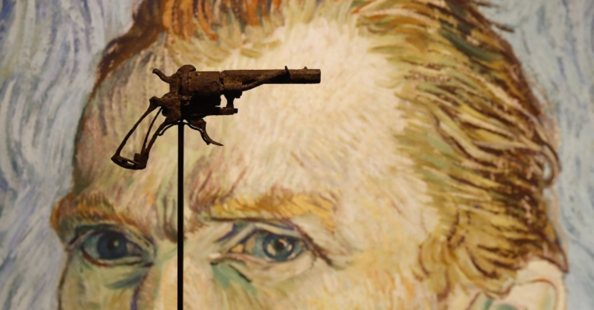 A revolver believed to be the gun Dutch 19th century painter Vincent Van Gogh would have used to kill himself on 27 July 1890 is on public display at Paris' Drouot auction house on June 19, 2019. (AFP Photo)