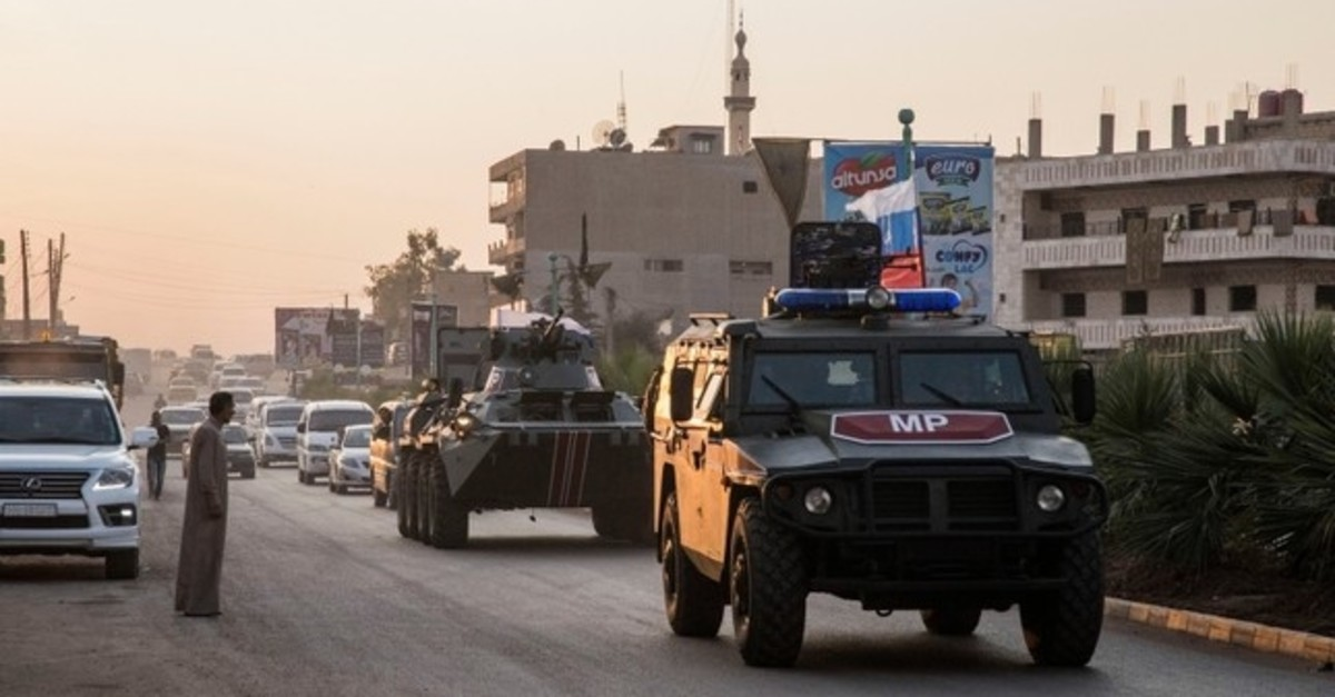 Russian forces patrol in the city of Amuda, north Syria, Thursday, Oct. 24, 2019. (AP Photo)