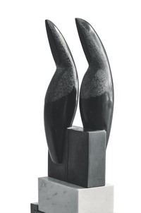 """""""Toucanets,"""" 2014 Direct carving, black and white marble, 65 x 22 x 20 cm"""