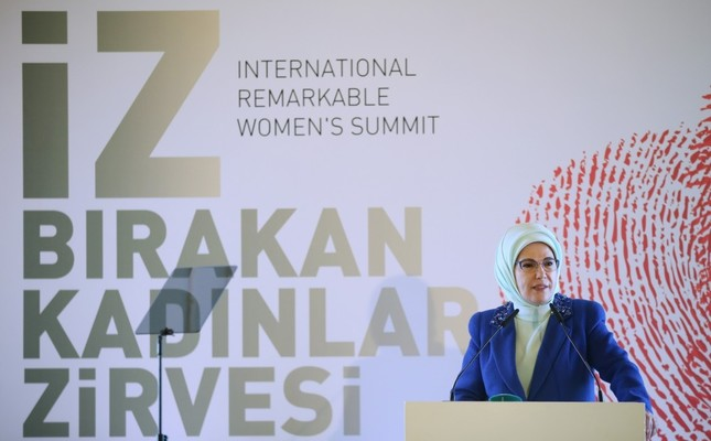 Emine Erdoğan addressed the International Remarkable Women's Summit hosted by a local municipality in Istanbul.