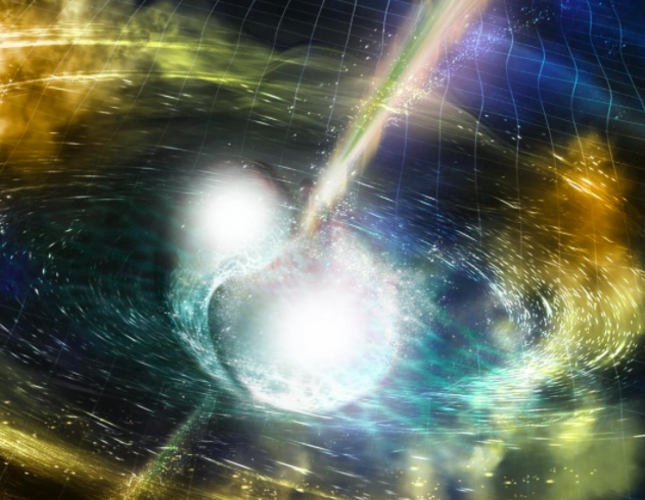 An artist's illustration of two merging neutron stars. The rippling space-time grid represents gravitational waves that travel out from the collision, while the narrow beams show the bursts of gamma rays (Reuters Photo)