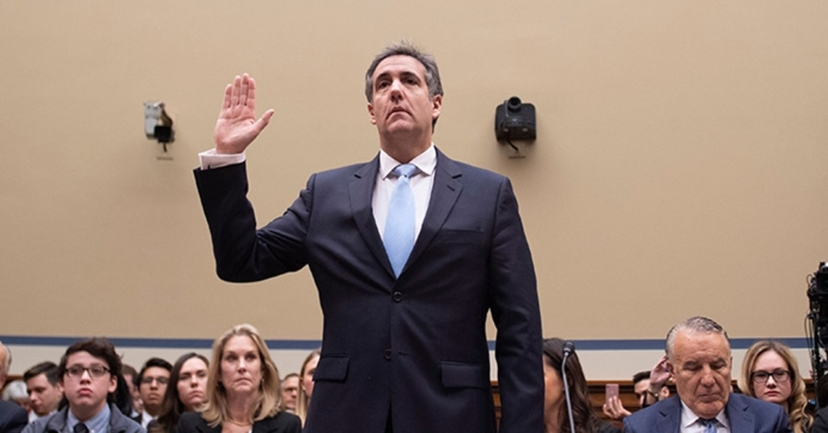 Michael Cohen, U.S. President Donald Trump's former personal attorney, is sworn in to testify before the House Oversight and Reform Committee in the Rayburn House Office Building on Capitol Hill in Washington, D.C. on Feb. 27, 2019. (AFP Photo)
