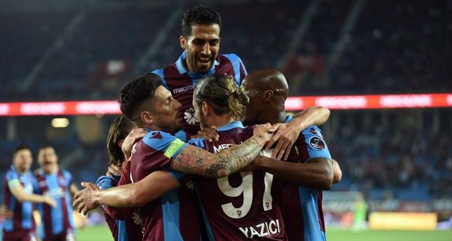 Trabzonspor players celebrate a victory against İstikbal Mobilya Kayserispor, May 6, 2019.
